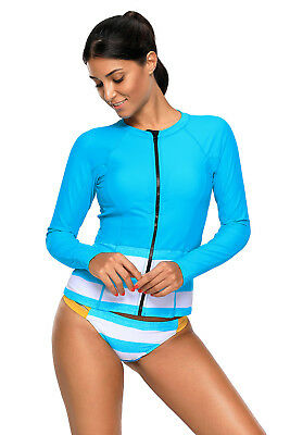 Women Long Sleeve Front Zipper Uv Sun Protection Upf 50  Rash Guard Swimsuit Set