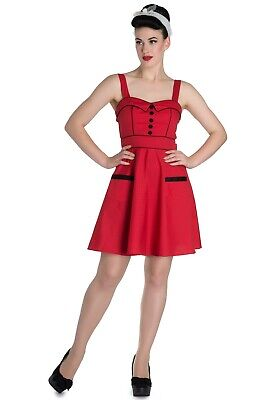 Rot Polka Dot Baumwolle Kleid (Hell Bunny VANITY Polka Dots PUNKTE Retro Mini Kleid SWING DRESS Rot Rockabilly)