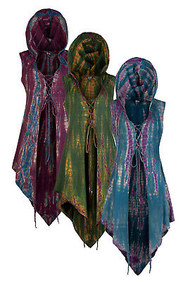 Steampunk hooded tie dye waistcoat trance festival clothing up to Plus size - Plus Size Steampunk Clothing
