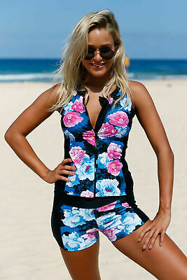 Women Floral Zip Front Tankini Swimsuit with Swim Shorts Sleeveless Rash Guard