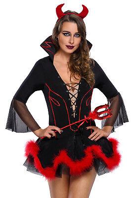 Damen Teufel Kostüm 3 teilig Teufelin Kleid Horror Halloween Wäschebeutel ()