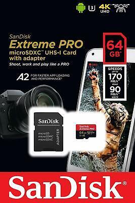 SanDisk 64GB Extreme Pro 170MB/s Micro SD MicroSDXC UHS-I U3 A2 V30 Memory Card ()