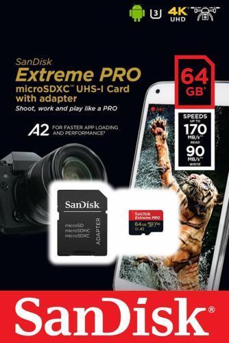 SanDisk 64GB Extreme Pro 170MB/s Micro SD MicroSDXC UHS-I U3 A2 V30 Memory Card