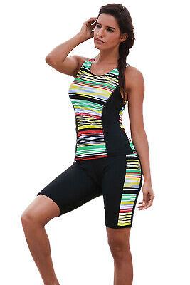 Women Multi Stripe Swim Capris Shorts Tank Two Piece 2 PC Tankini Swimsuit (Two Piece Short Swimsuit)