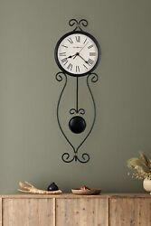 Pendulum Wall Clock Howard Miller Ivana 24 in 625495 Antique Black & Gold