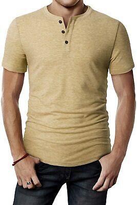 H2H Mens Casual Premium Slim Fit Henley T-Shirts Short Sleev