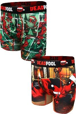 Deadpool Deck the Halls Men's Boxer Briefs, 2-Pack, Small