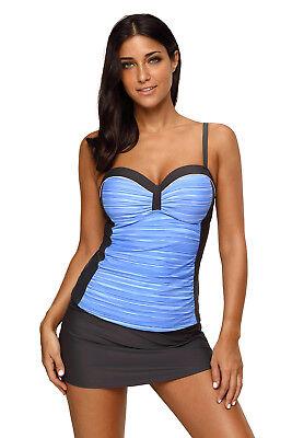 Women Sweetheart Style Color Block Tankini Swimsuit with Swim Skirt 2 Piece Set