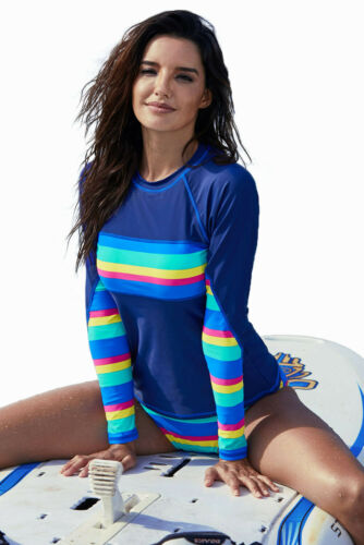 Women Long Sleeve UV Sun Protection UPF 50+ Rash guard 2 PC Swimsuit Tankini Set