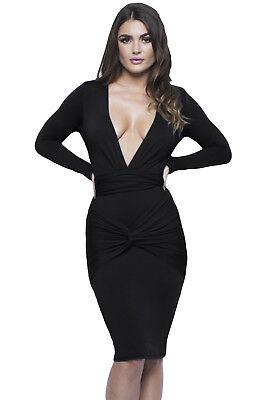 Sexy Black Slinky - Sexy Black Deep V Slinky Knotted Long Sleeve Knee Length Dress Sz: MEDIUM