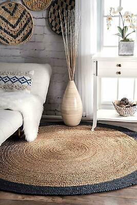 Natural Jute round rug, Handmade Circular Jute Rug,Reversible Living Rug