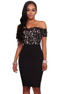 Black Off Shoulder Floral Lace Bodycon Party Dress 12/14, 16/18