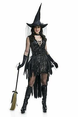 Glamorous Womens Halloween Costumes (Glamorous Witch Wicked Sorceress Gothic Fancy Dress Up Halloween Adult)