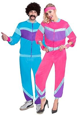 80s Costumes For Couples (Couples Ladies & Mens Retro 80s Shell Suit Tracksuit Fancy Dress Costumes)