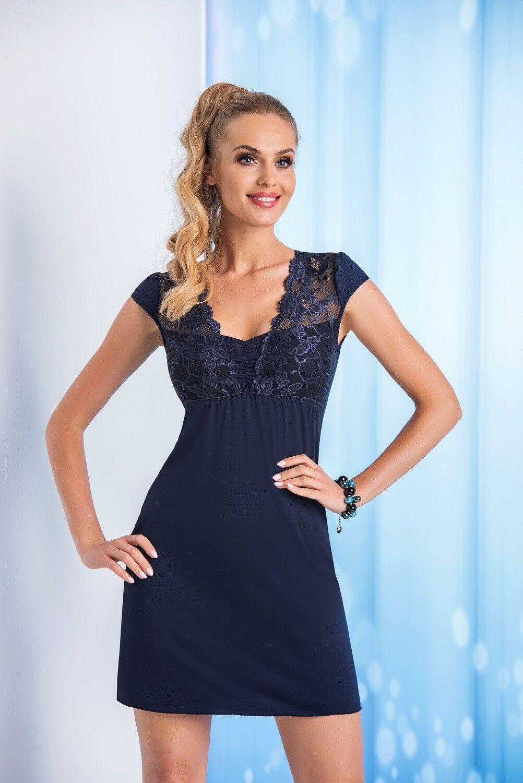 dde265860d0613 Donna Nachthemd blau kurzarm Damen Nachtkleid Neglige hochwertig dunkelblau