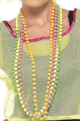 Damen Herren 80s Jahre Neon Perlen Mardi Gras Pride Kostüm Kleid Outfit ()