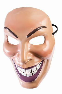 Half Face Halloween Male (Male Evil Grin Purge Mask Plastic Front Face Mask Teen to Adult)