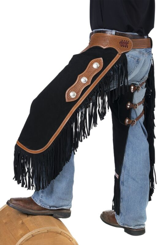 Western Chinks - Chaps - Black Suede Leather - Basketweave Tooling - S,M,L,XL