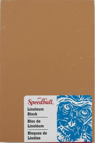 Speedball 4308 Premium Mounted Linoleum Block – Fine, Smoky Tan, 4 x 6 Inches