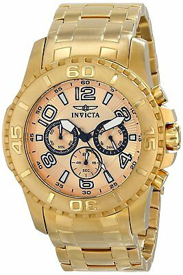 Invicta Men's 15022 Pro Diver Chronograph 48mm Champagne Dial Gold-Tone Watch