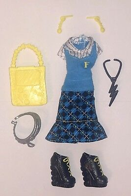 Monster High First Day of School Frankie Stein Doll Outfit Dress Black Shoes New