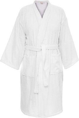 Albornoz Talla XL Kimono + Bolso 100% Bw Blanco Bata Abrigo de...