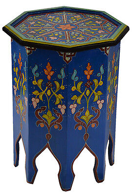 Moroccan Handmade Wood Table Side Delicate Hand Painted Dresser Exquisite Blue