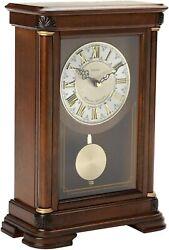 Seiko Mantel Chime with Pendulum Clock Brown Alder Case Ornamental QXQ008BLH