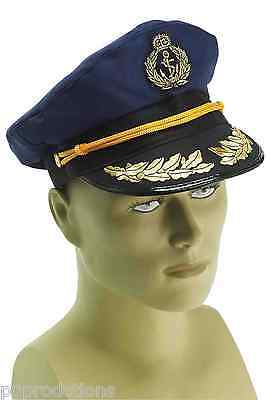BLUE CAPTAIN NAVY SAILOR HAT Officer Uniform Adult Cap Naval Ship Police Yacht