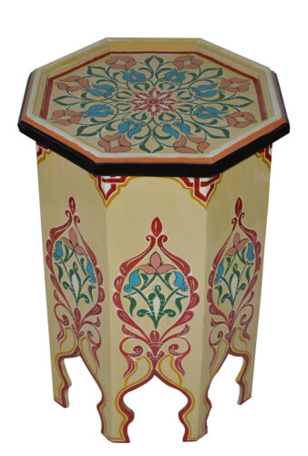 Moroccan Table Wood End Table Coffee Middle East Arabesque Decor Handmade Beige