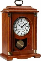 Seiko Mantel Chime Pendulum Carriage Clock Dark Brown Solid Oak Case QXJ114BLH