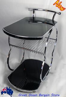 Coaster Kitchen Chrome Metal Serving Cart Food Tea Coffee Wine