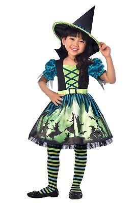 Mädchen Hocus Pocus Hexe Halloween Büchertag Kostüm Kleid Outfit 3-8 Jahre
