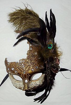 Womens Feathers Ball Lace Mardi Gras Masquerade Mask with Gems - One Size (Masks Masquerade Ball)