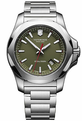 New Victorinox 241725.1 Swiss Army INOX Green Dial Stainless Steel Men's Watch