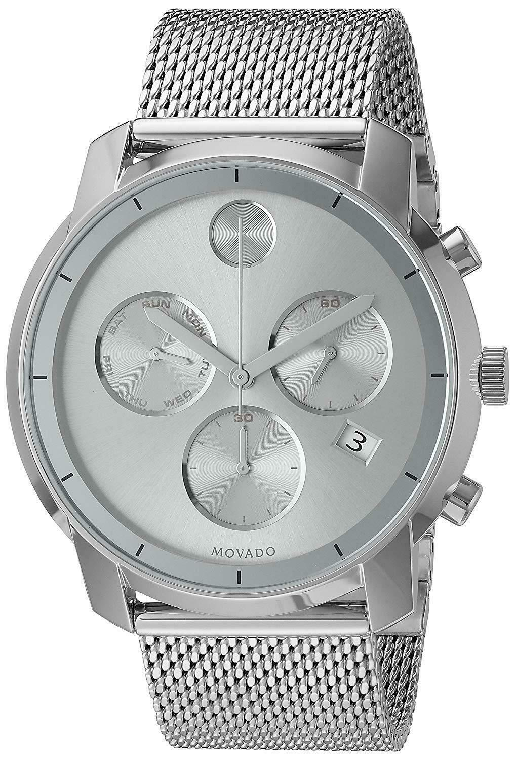 Bold Silver Dial Stainless Steel Men's Watch