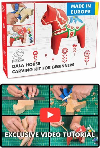 Wood Carving Whittling Hobby Kit for Adults & Teens DIY Dala Horse BeaverCraft