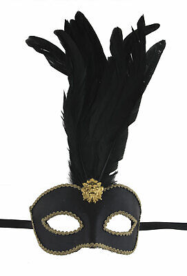 Mask Venice Colombine Quiff Black in Feathers Braid Golden Paper Mache 22512