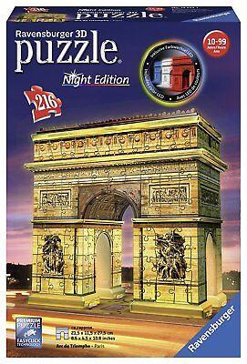 Ravensburger 12596 Arco del Triunfo de París. Puzzle 3D Edición Noche. 216 pzs