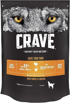 Dry Dog Food with Turkey & Chicken – High Protein & Grain-Free – 1kg (Pack of 3)