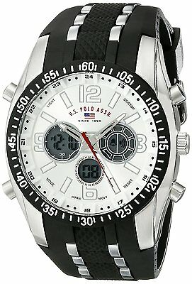 $75 New U.S. Polo Assn. Sport Men's US9061 Watch Black Rubber Strap X-mas Gift