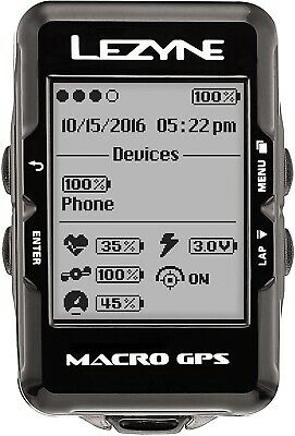 Lezyne Macro GPS Bike Computer Unit Black w forward bar mount