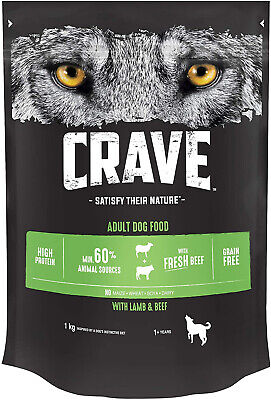 Crave Dry Dog Food with Lamb & Beef High Protein & Grain-Free 1 kg Pack of 3