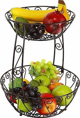 2-Tier Countertop Fruit Basket Bowl Storage, - Bowl Countertop