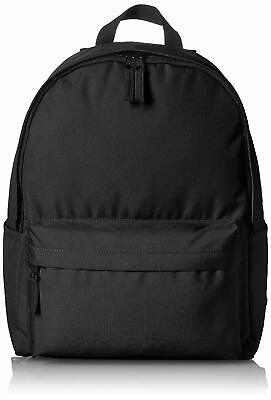 Amazon Basics Black Backpack w/Inside Open & Zip Pockets Outside Zip Pocket