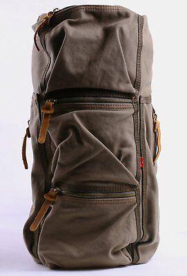 Augur Cylindrical Canvas Shoulder Bag Satchel Hiking Travel Luggage (Coffee) New