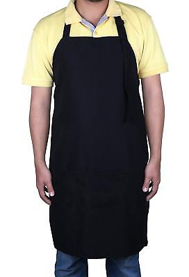 Women Men Chef Restaurant Bib Apron With 2 Pockets Cooking Kitchen Adjustable