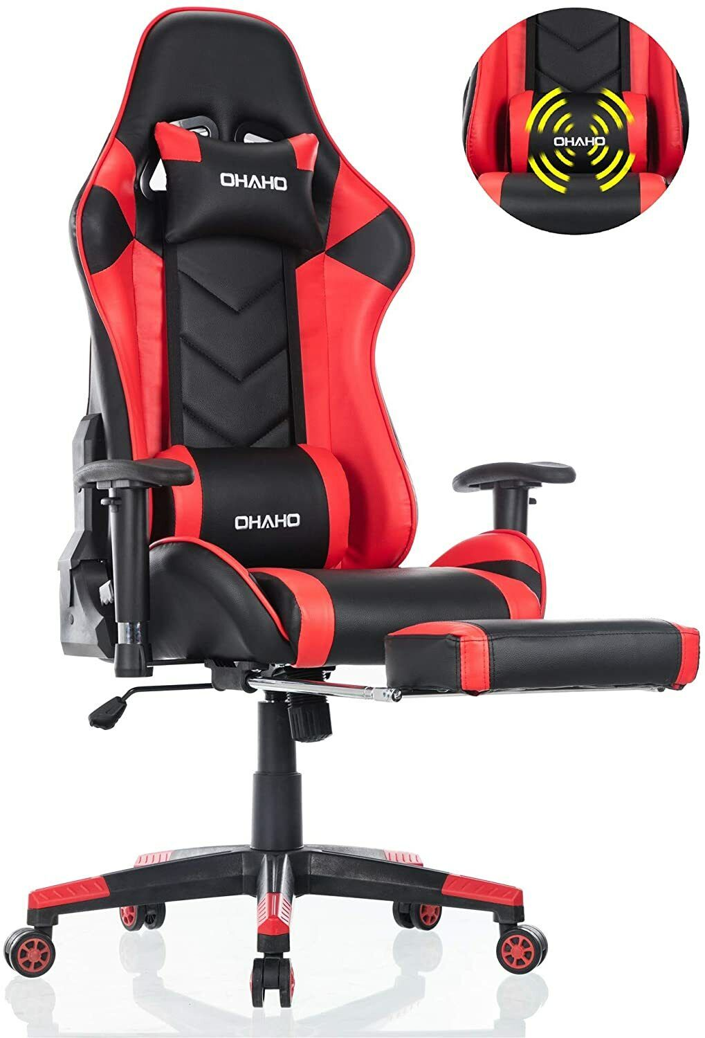 Computer Games - OHAHO Ergonomic Computer Gaming Chair with Footrest Lumbar Massage Support