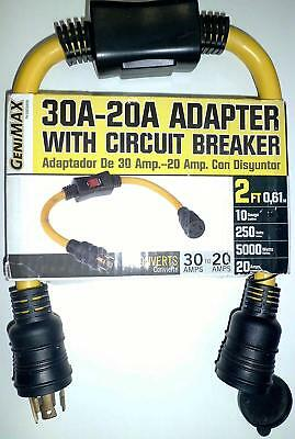 30a-20a Generator Adapter Cord 2 Ft Extension Circuit Breaker Power Commercial