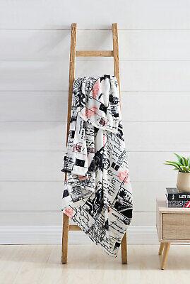 VCNY Jolie Paris Velvet Plush Throw Blanket, Multi-Colored, 50x70 Inches